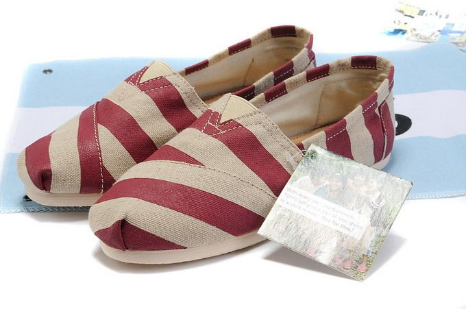 Toms Classic Womens Shoes Red Zebras Natural Burlap Toms029 - $22.00