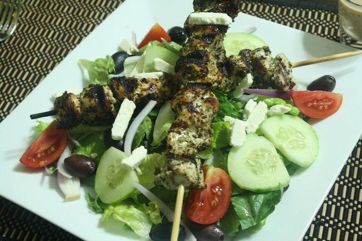 Chicken Souvlaki Salad Recipe — Dishmaps