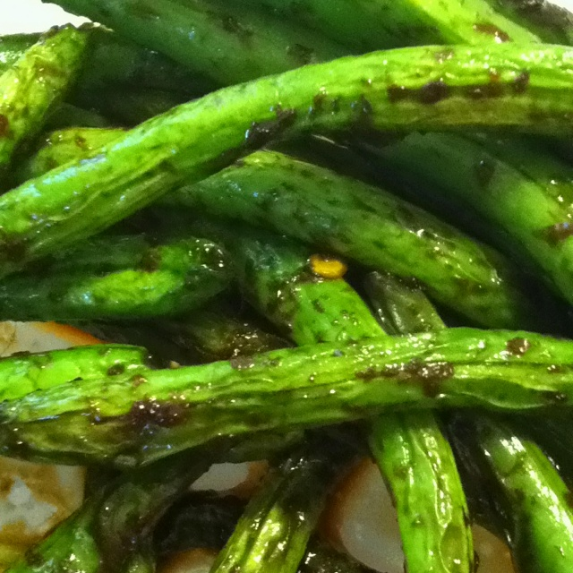 Green beans sautéed in oil, tamari soy sauce, ginger, and red pepper ...