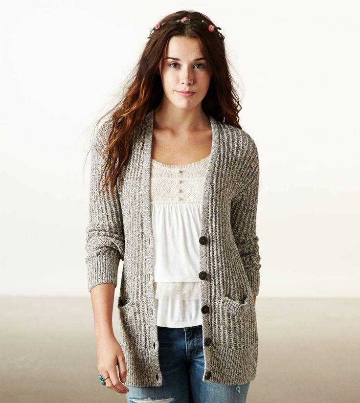Ae Ribbed Cardigan Sweater Grey