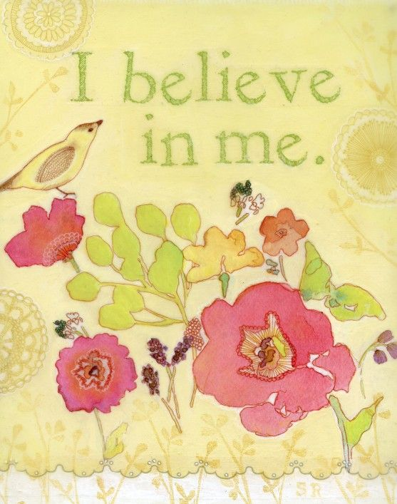 Stephanie Ryan  |  *I Believe in Me*, Mixed Media Watercolor Illustration of Bird with Flowers (Print).