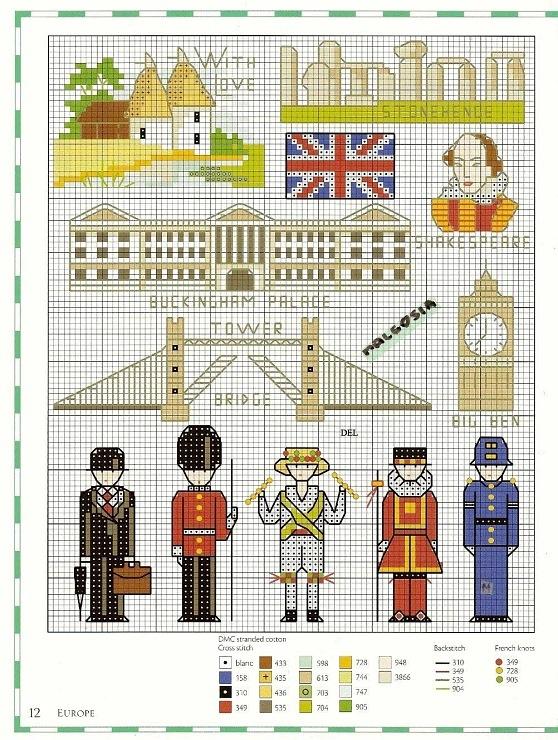 Вышивки схемы англия 1013