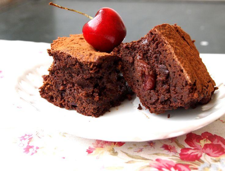 Roasted Cherry Dark Chocolate Truffle Brownies with a Kick