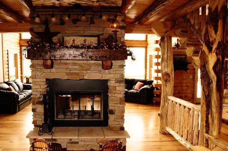 Log Home Fireplace Home Decor Log Cabins Pinterest
