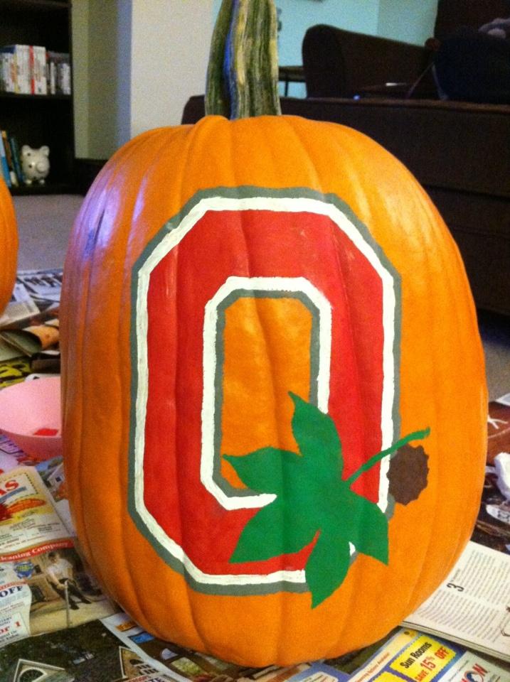 Ohio state buckeyes block o pumpkin pinterest