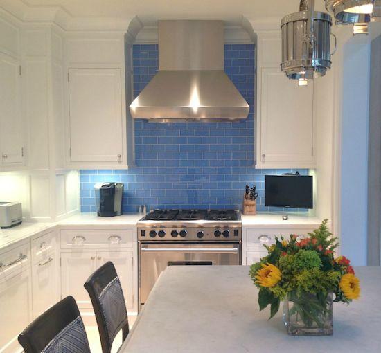 White kitchen cabinets blue tile backsplash  Kitchens  Pinterest