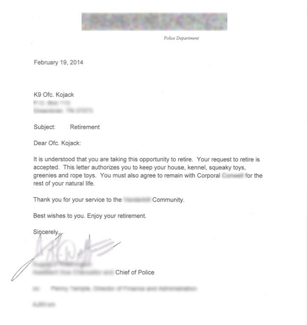 is K-9 Officer Kojack's retirement letter. He was issued this official ...