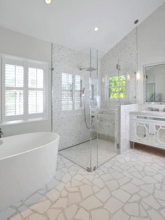 No Curb Bathroom Design Ideas ~ No curb shower large glass surround master bath