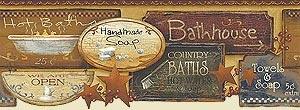 Country Baths Wallpaper Border Bathroom Pinterest