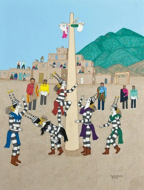 pablita velarde Old father storyteller, by pablita velarde tewa artist's prizewinning paintings illustrate book of her father's traditional santa clara pueblo stories clear light.