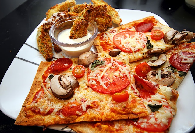 "Lavash Flat Bread Pizza! Low Carb! Paired w/oven-baked Avocado ""Fries ..."