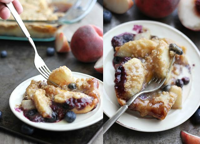 Blueberry cobbler crisp with maple sauce
