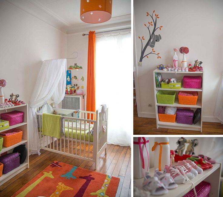 chambre bébé blanc orange vert  Kids  Pinterest