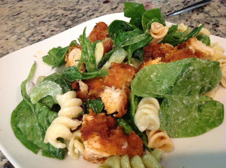combined with Buffalo chicken! Salad: spinach, tricolor pasta, celery ...