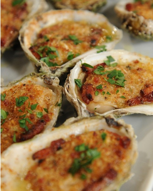 Roasted Oysters with Bacon.