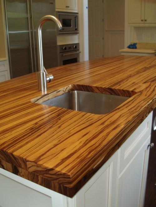 zebra wood countertop; I like the darker zebra wood then the one in ...