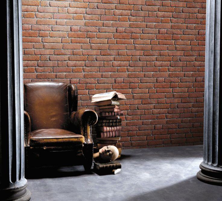 Papier peint trompe loeil mur de briques anciennes - Designer ...