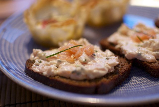 Party Egg Salad Tea Sandwiches with Smoked Salmon and Dill