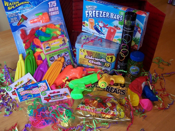 Fun-in-the-sun supplies, water guns, balloons, and chalk!