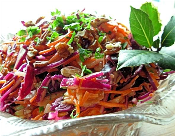 Dazzling Winter Slaw - Red Cabbage, Apple and Pecan Salad. This is a ...