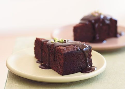 Chocolate-Pistachio Torte with Warm Chocolate Ganache | Recipe