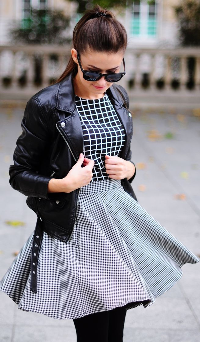 Black And White Mini Gingham Print A-skirt
