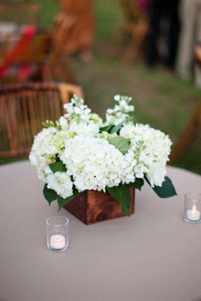 I love a wood box flower centerpiece centerpieces