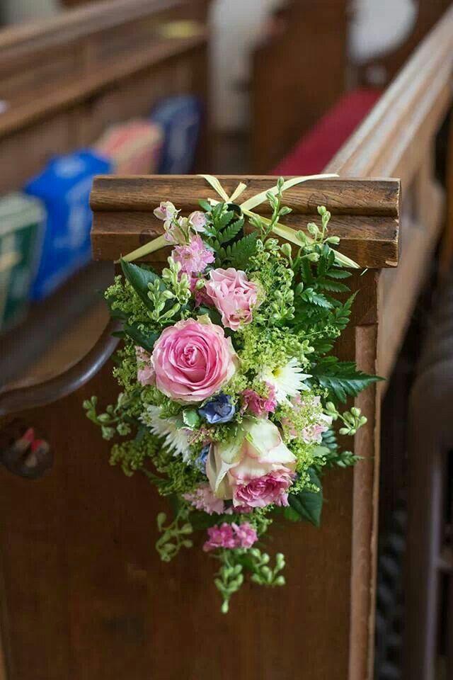 Church Pew Flowers Wedding Pinterest