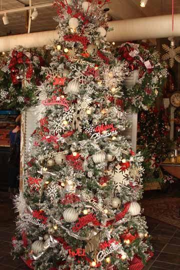 Red and silver christmas tree christmas pinterest - Christmas tree silver and red ...