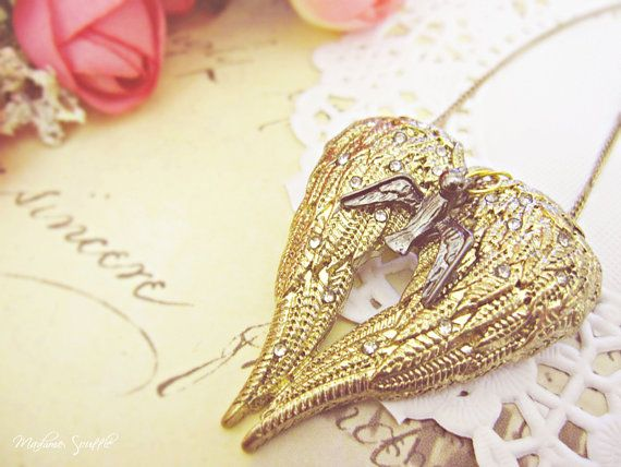 Heavenly Angel Heart Necklace by Madame Soufflé | Gold & Gold ...