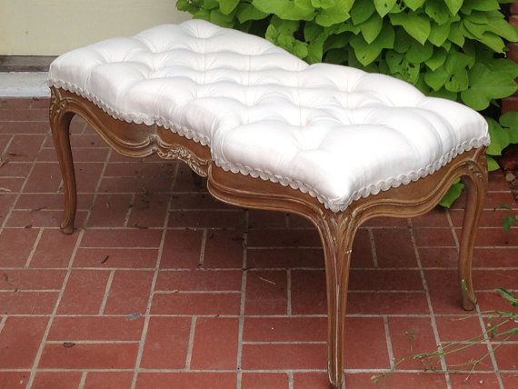 Tufted French Bench Settee Upholstered