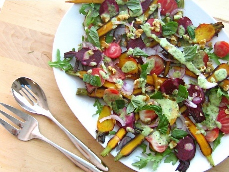 Honey Glazed and Roasted Beets and Carrots with a Lemon Basil Dressing