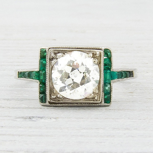 1 20 Carat Diamond and Emerald Vintage Engagement Ring