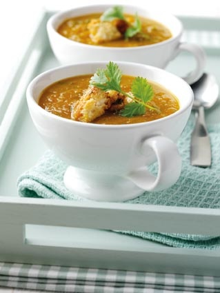... the soup & stir in 35g coriander. Serve garnished with the croutons