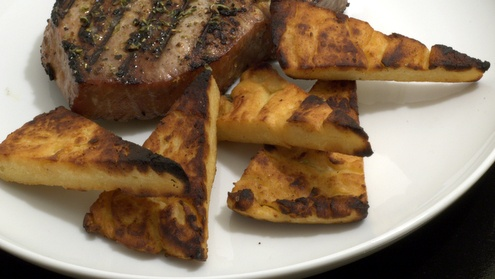 ... tuna with oregano and panelle (chickpea flour based polenta like side