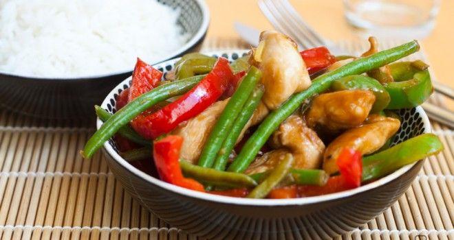 Pollo salteado con verduras