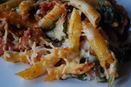 ... birthday - Baked ziti - pesto, tomatoes, spinach, sausage. YUMMMMM