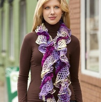 NobleKnits Knitting Blog: Ruffle Yarn Scarf Free Knitting Pattern
