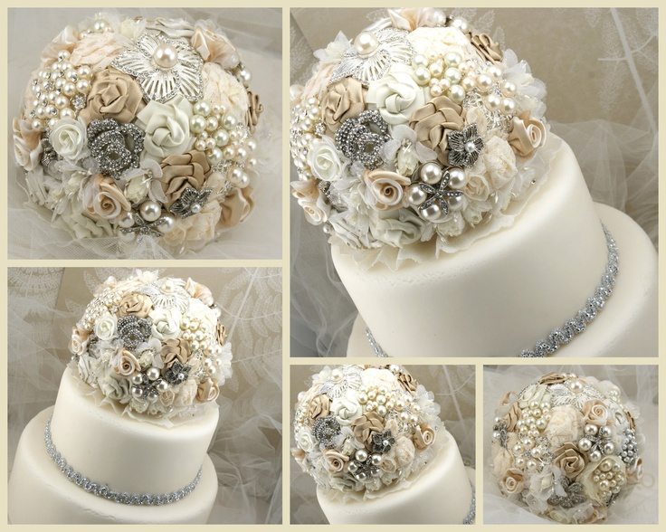 Wedding cake topper brooch jeweled topper in champagne ivory and cr