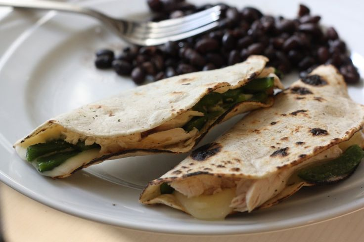 quesadillas with rajas, chicken and cheese