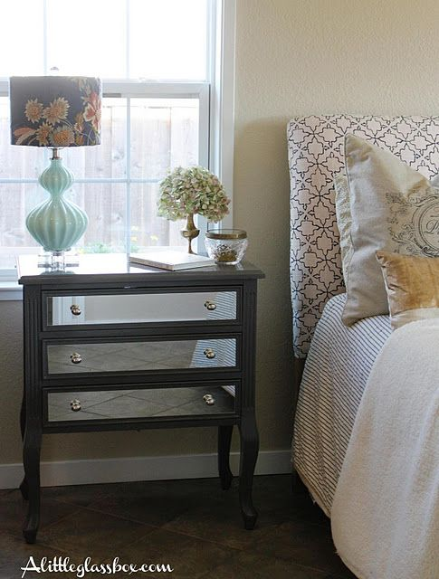 Diy mirrored night stand beautiful diy details pinterest for How to make a mirrored nightstand diy