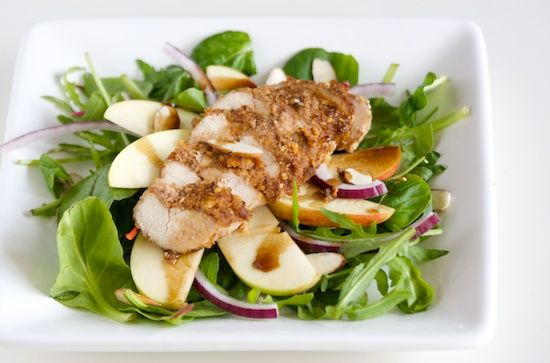 Pecan Crusted Chicken and Apple Salad with Maple Balsamic Vinaigrette