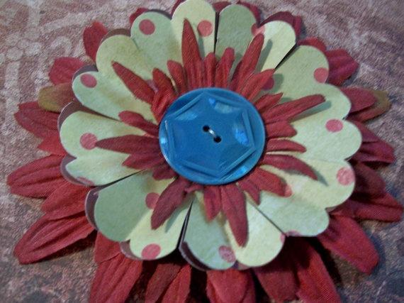 OOAK  Fantasy Flower Repurposed Vintage Button by PaperPastiche, $5.95