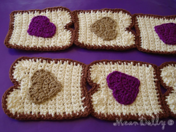 Peanut butter and jelly hearts scarf by MeanDolly on Etsy, $54.00