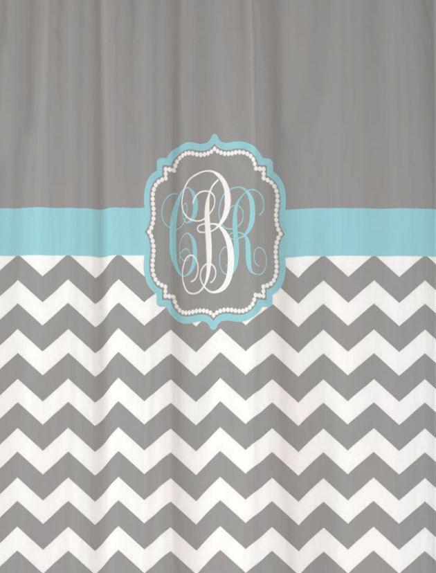 shower curtain cool gray half chevron with light blue