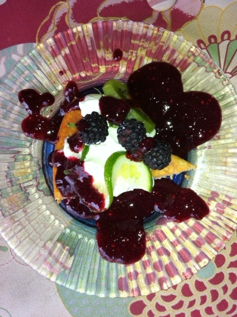 Lime yogurt cake with blackberry sauce | luscious food stuffs | Pinte ...