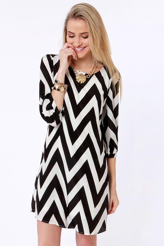Pack Your Zigzags Black Chevron Print Dress