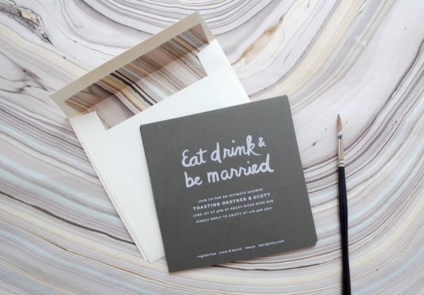 Hand Lettered Bridal Shower Invitations with Marbled Paper Envelope ...