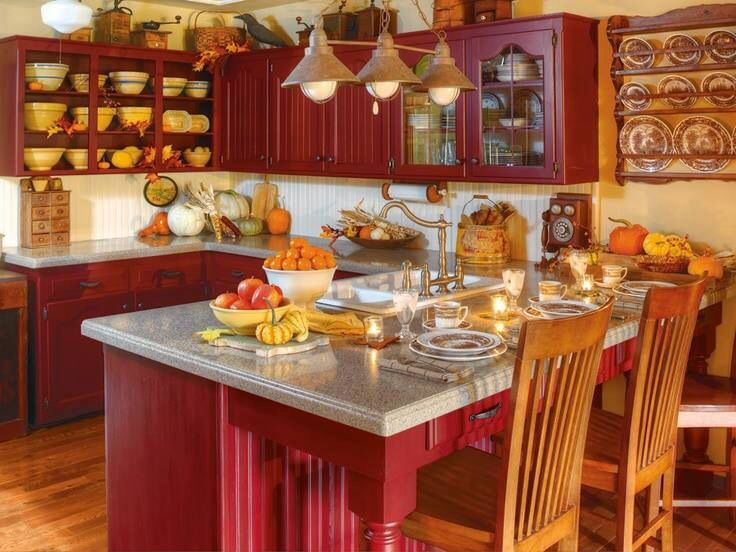 beautiful country red kitchen mission style pinterest