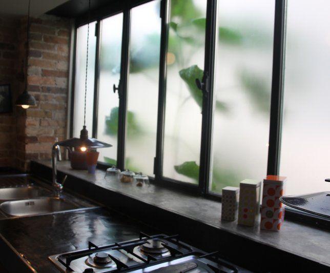 Cuisine vitre d 39 atelier home pinterest for Cuisine avec vitre atelier